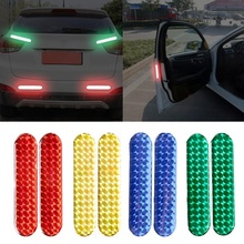 2pcs Car Door Reflective Sticker Warning Tape Stickers Strips 4 Colors Safety Mark Car-styling