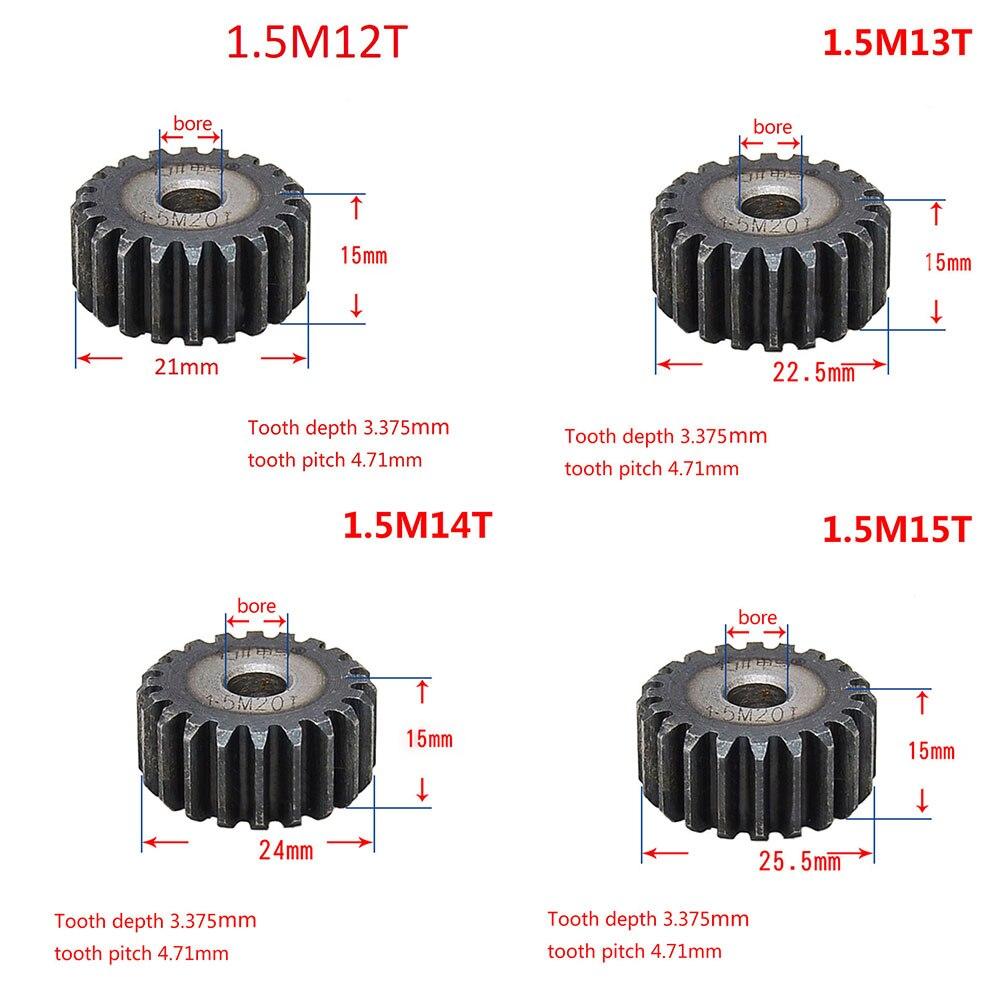 1PCS 45# Steel 1.5 Modulus 12T-27T Spur Gear Pinion/Metal Gear 12 Teeth - 27 Teeth Thickness 15mm