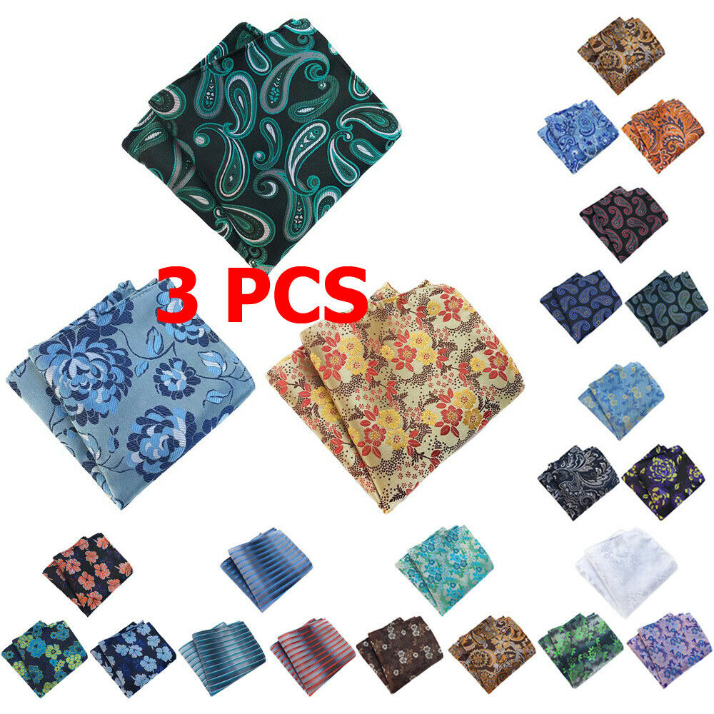 3 PCS Mens Paisley Flower Pocket Square Handkerchief Wedding Party Formal Hanky