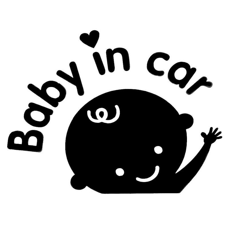 14.2*10.9 CENTÍMETROS Linda Sinal de Segurança DO BEBÊ NO CARRO Adesivos Carro Styling Acessórios Do Corpo Do Carro de Vinil Preto/Prata