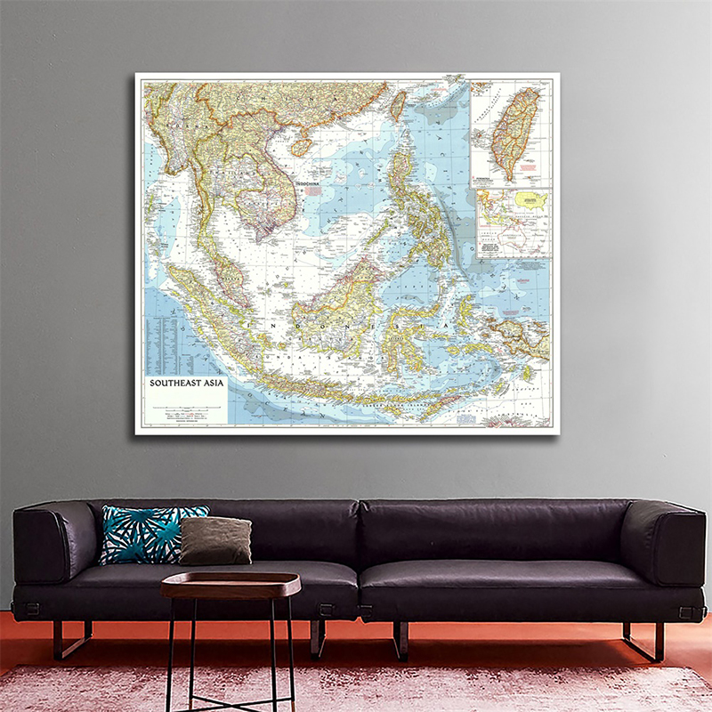 90*90cm Southeast Asia World Map Horizontal Map World Detailed Poster Wall Chart Paper Kraft Paper Home Office Decoration