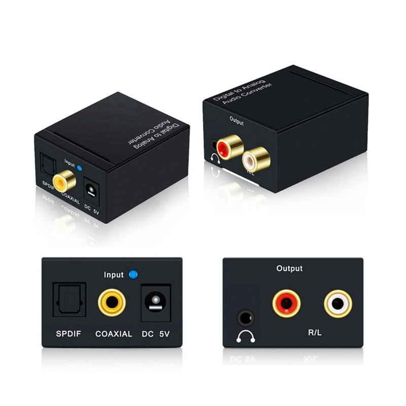 Coaxial Optical Fiber Toslink Digital To Analog L/R RCA 3.5mm Jack Audio Converter SPDIF Digital Audio Decoder Stereo Amplifier
