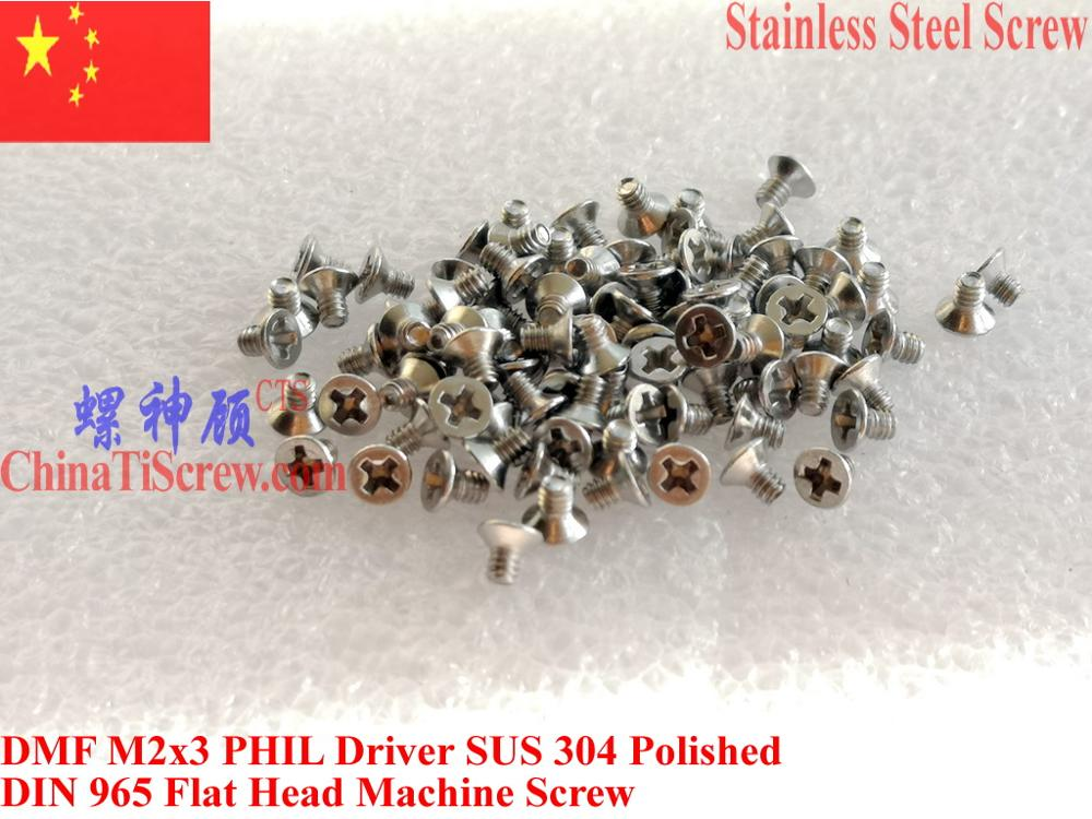 Stainless Steel <font><b>Screws</b></font> <font><b>M2x3</b></font> Flat Head 0# Phillips Driver DIN 965 A2-70 Polished 100 pcs ROHS image
