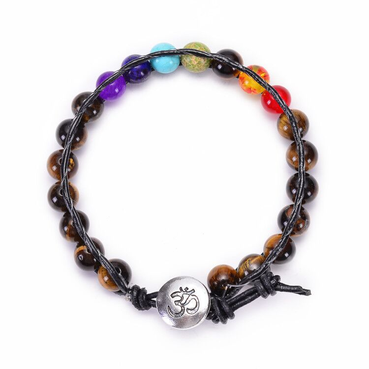 H39d3dce7baf747018afe2ffff6f04be3h - New Colorful 7 Chakra Bead Leather Rope Braided Bracelet Natural Tiger's Eye Volcanic Stone Energy Yoga Bracelet Women Jewelry