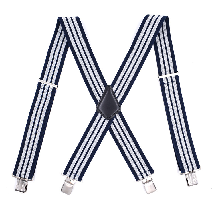 Cross Border Supply Of Goods Adult Men Lengthen Si Jia Suspender Strap 5CM 4 Clip Dark Blue And White Striped Suspenders Current