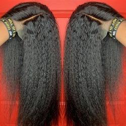 Peluca rizada recta, pelucas de cabello humano con encaje frontal 13x4 para mujeres, peluca humana Yaki brasileña Remy italiana