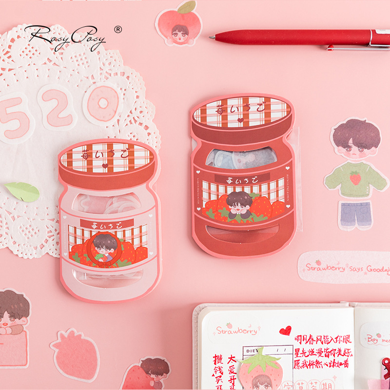 Strawberry Boy Series Bullet Journal Decorative Stickers Set Scrapbooking Stick Label Diary Stationery Album Cute Can Sticker