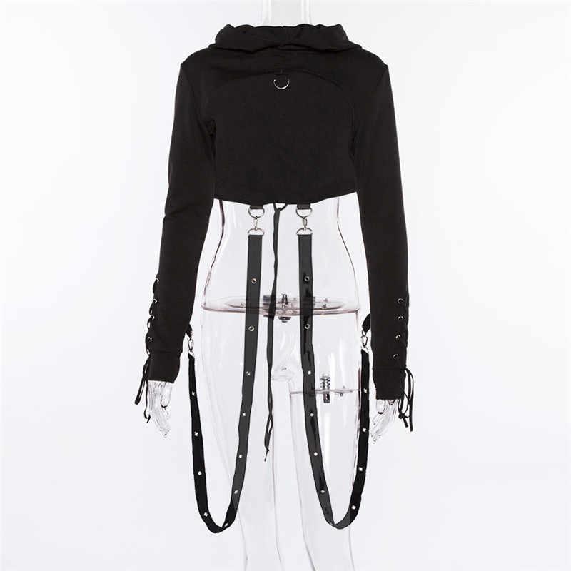 Sexy Witch bluza bandaż zasznurować Grunge estetyczne Harajuku Punk bluza z kapturem Gothic kobiety Crop Top wstążka swetry Halloween Chic