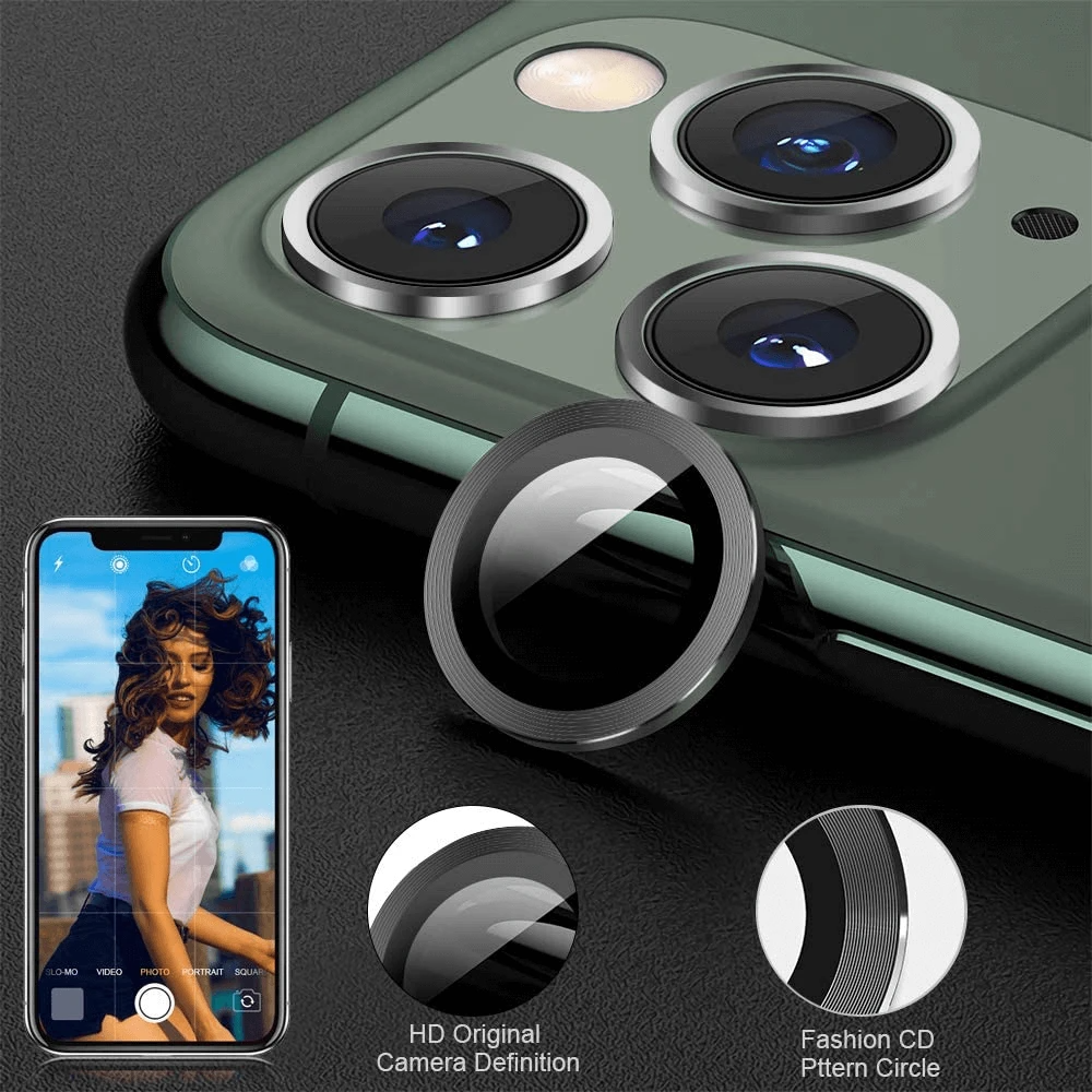 2 in 1 Back Camera Screen Protector Glass + Metal Lens Ring For iPhone 11 Pro Max Camera Screen Protctor For iPhone 11 Pro Case 1