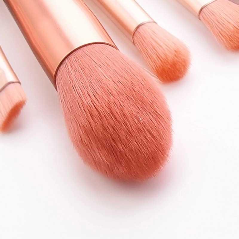 Xinyan Roze Make-Up Borstel Set Houten Korte Handvat Nylon Haar Poeder Wenkbrauw Mengen Eyeliner Wimpers Borstel Sets Beauty Tool