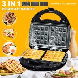 3 in 1 Breakfast Machine Grills Waffle Pan Maker Non-stick Buscuit Cake Bake Bakeware Home Kitchen DIY Dessert Cooking Pan Plate