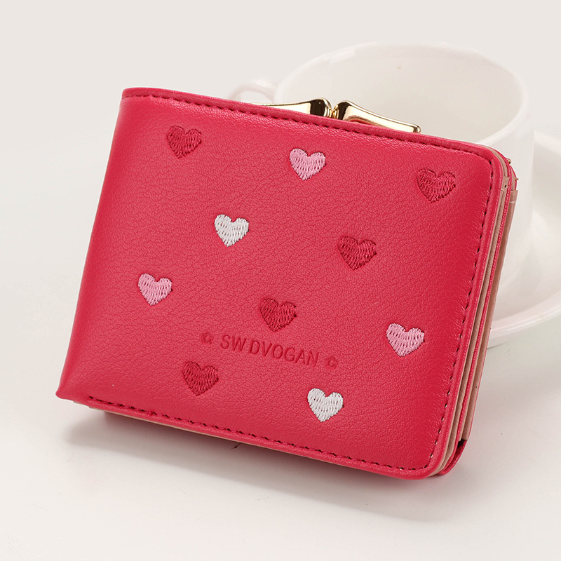 Japanese Multi-function Women's Mini Wallet Candy Color Heart-shaped Embroidery Women Short Wallet Cute Coin Purse Card Package - Цвет: RoseRed