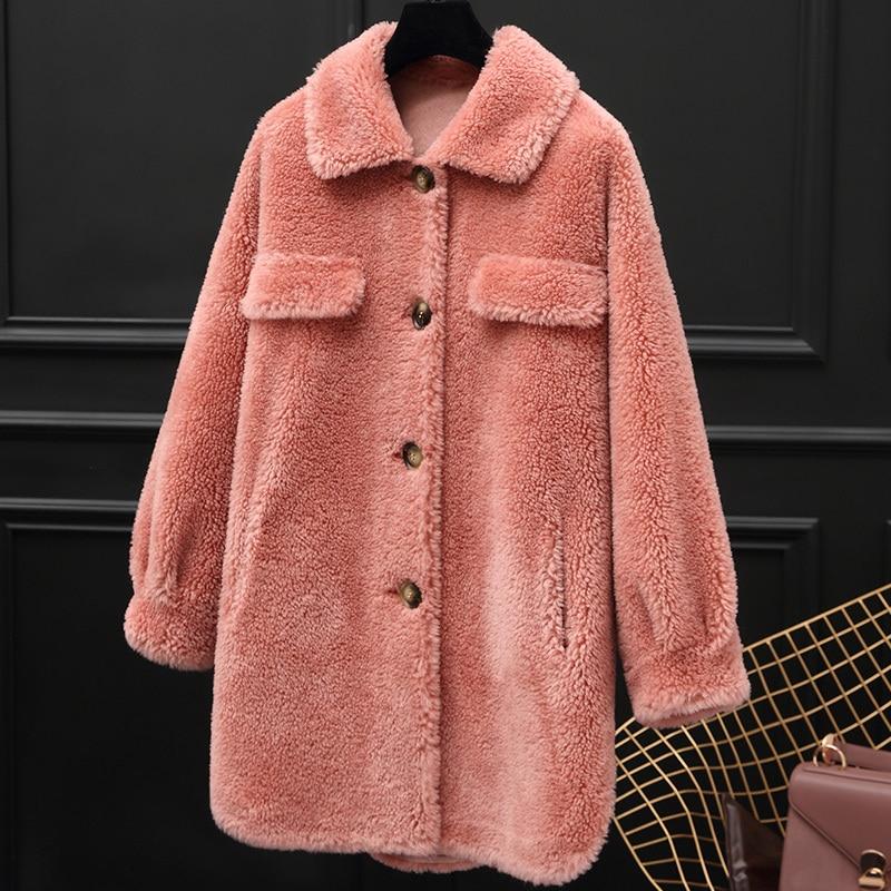 Real Fur Coat Korean Vintage Wool Jacket Autumn Winter Coat Women Clothes 2020 Sheep Shearling Fur Women Tops Suede Lining T3455