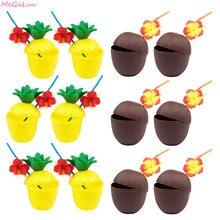 6 pçs de plástico tropical abacaxi coco beber copo forma frutas copos suco hawaiian luau aniversário verão praia piscina festa decoração