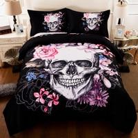 3D Crowned Floral Skull Duvet Cover Pillowcases Sugar Skull King Queen Bedding Set for Couple Gothic Fantasy Quilt cover set