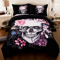 3D Crowned Floral Skull Duvet Cover Pillowcases Sugar Skull King Queen Bedding Set for Couple Gothic Fantasy Quilt cover set