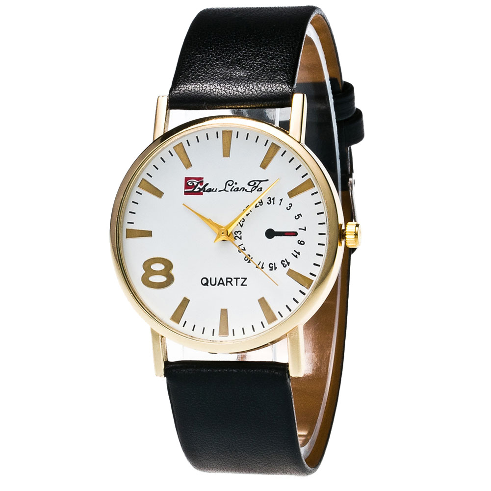 Male Ultra-thin Leather Strap Round Dial Quartz Watches Men Women Couple Casual Watches Work Daily Wearing LL@17