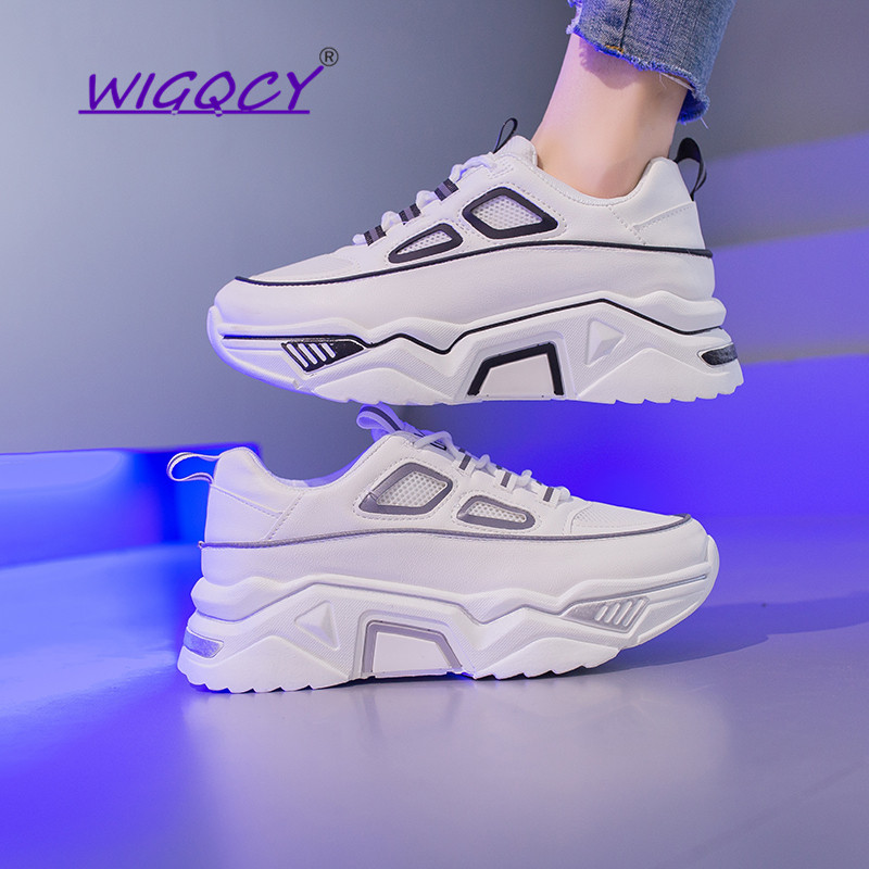 Women Sneakers Breathable Mesh Night Illumination Platform Ladies Shoes Spring Autumn Flats Casual Shoes Women Chunky Sneakers