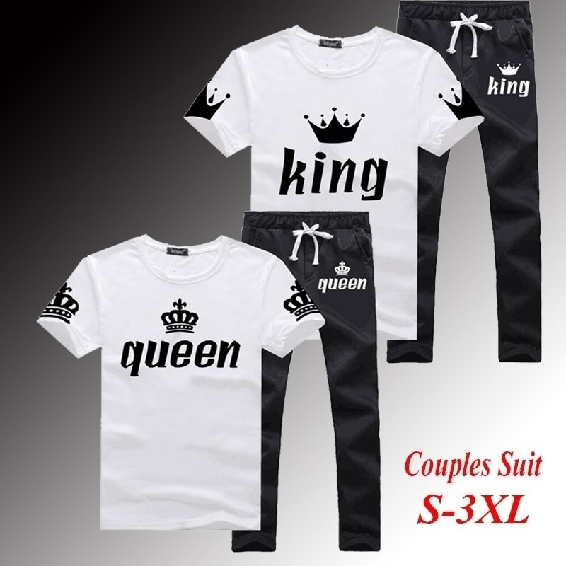 King Queen Lovers Couple Matching Set Short Sleeve T-shirt And Sweatpants Trousers Set Men And Women Casual Tracksuits