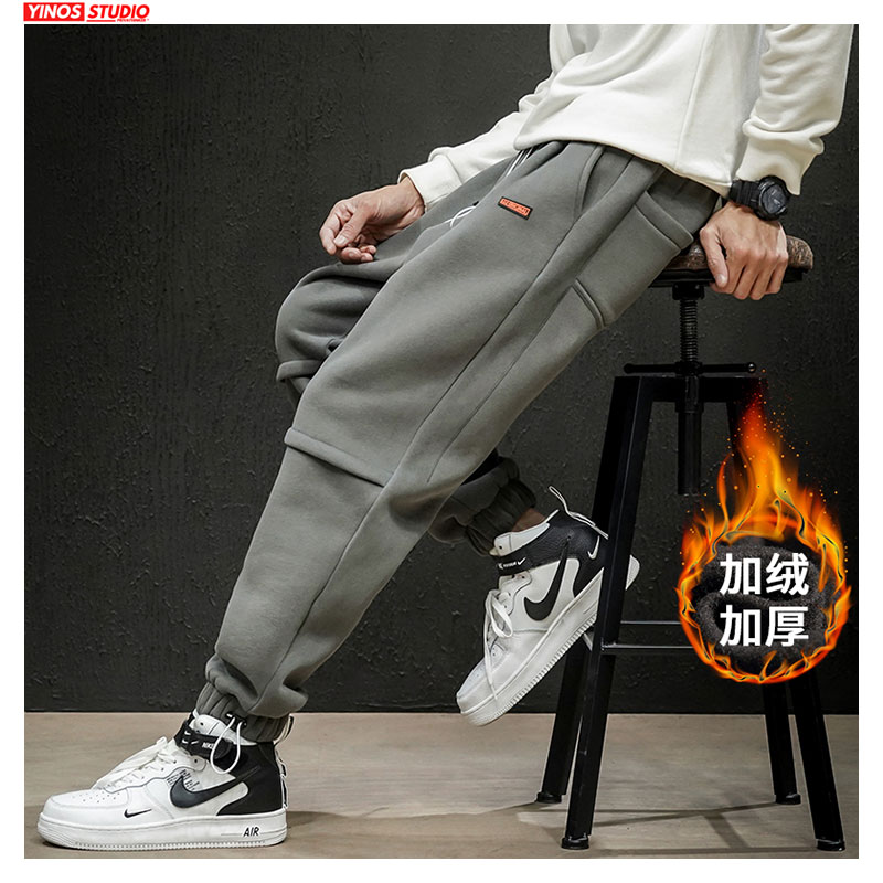 Dropshipping Winter Thicken Mens Loose Joggers Pants Men Streetwear Warming Pants Male Solid Baggy Trousers Sweatpants