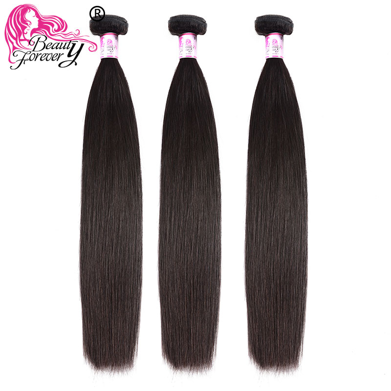Hair Bundles Weave Natural-Color Straight Beauty Forever Brazilian Remy title=