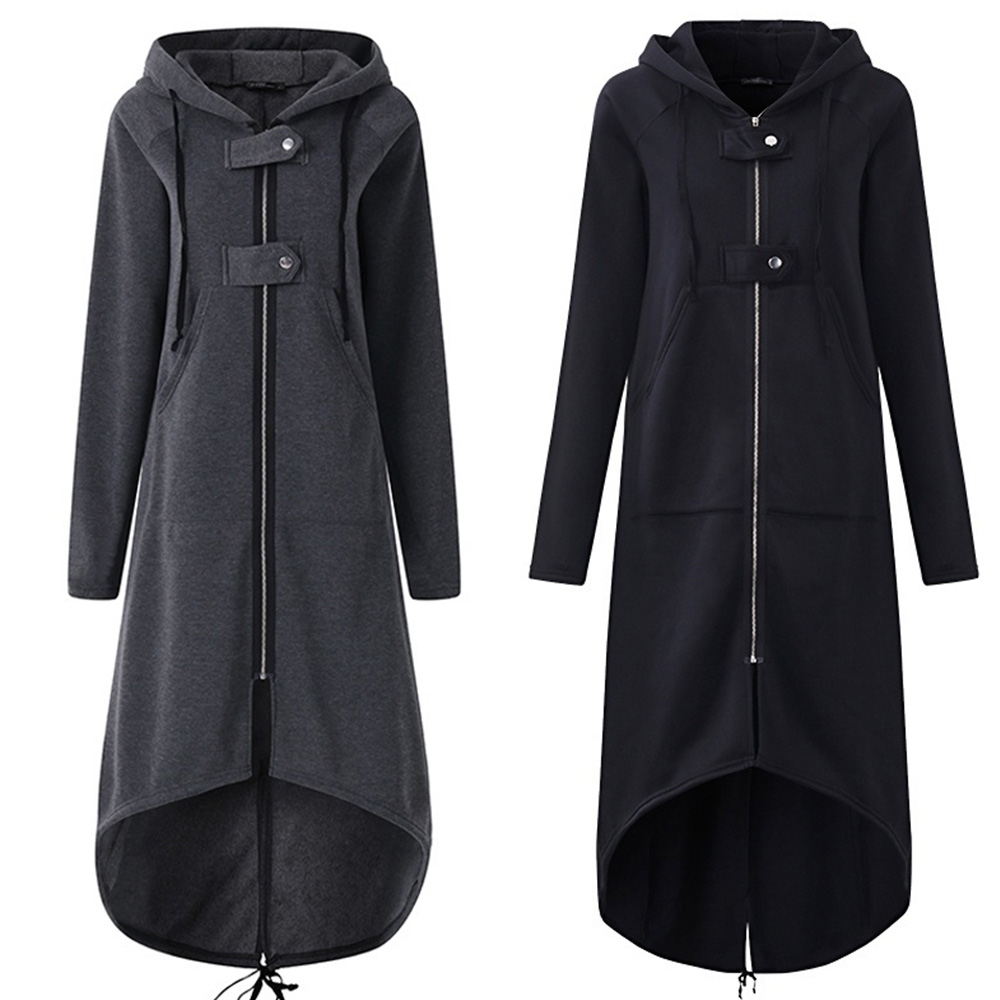 Women Autumn Fashion Coat Long Sleeve Black Hooded Trench Coat Female Autumn Hooded Zipper Overcoat Long Trench Coat