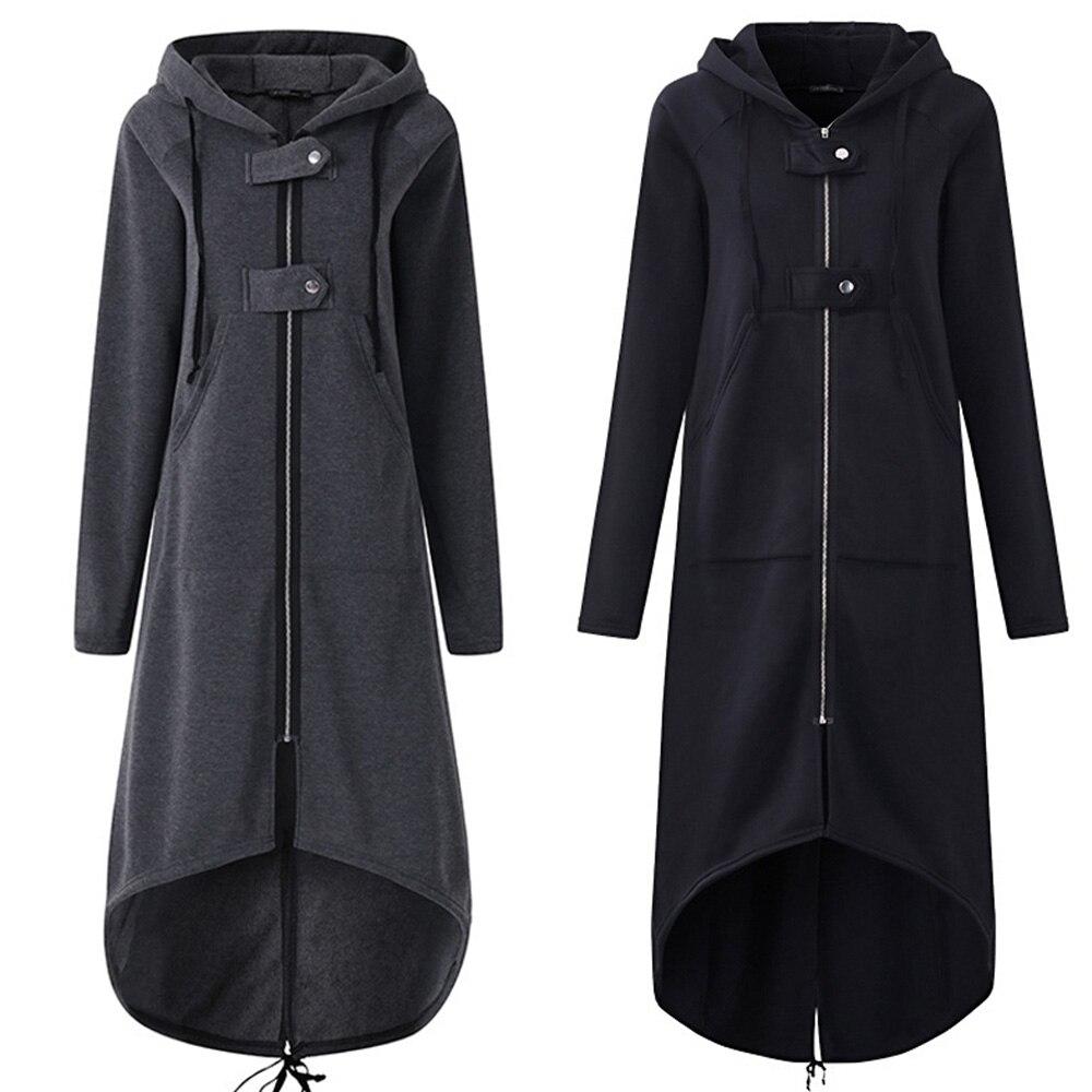 Women Autumn Fashion Coat Long Sleeve Black Hooded Trench Coat Female Autumn Hooded Zipper Overcoat Long Trench Coat