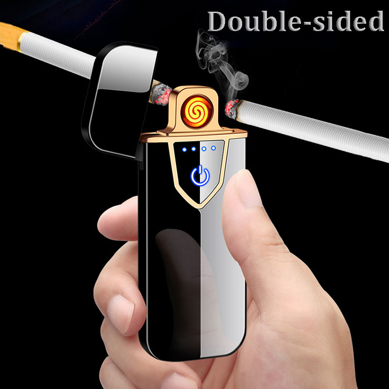 Metal Flameless  Electric Lighter USB Lighter Touch Induction Double Lighter Windproof  Ultra-thin Smoking Lighters