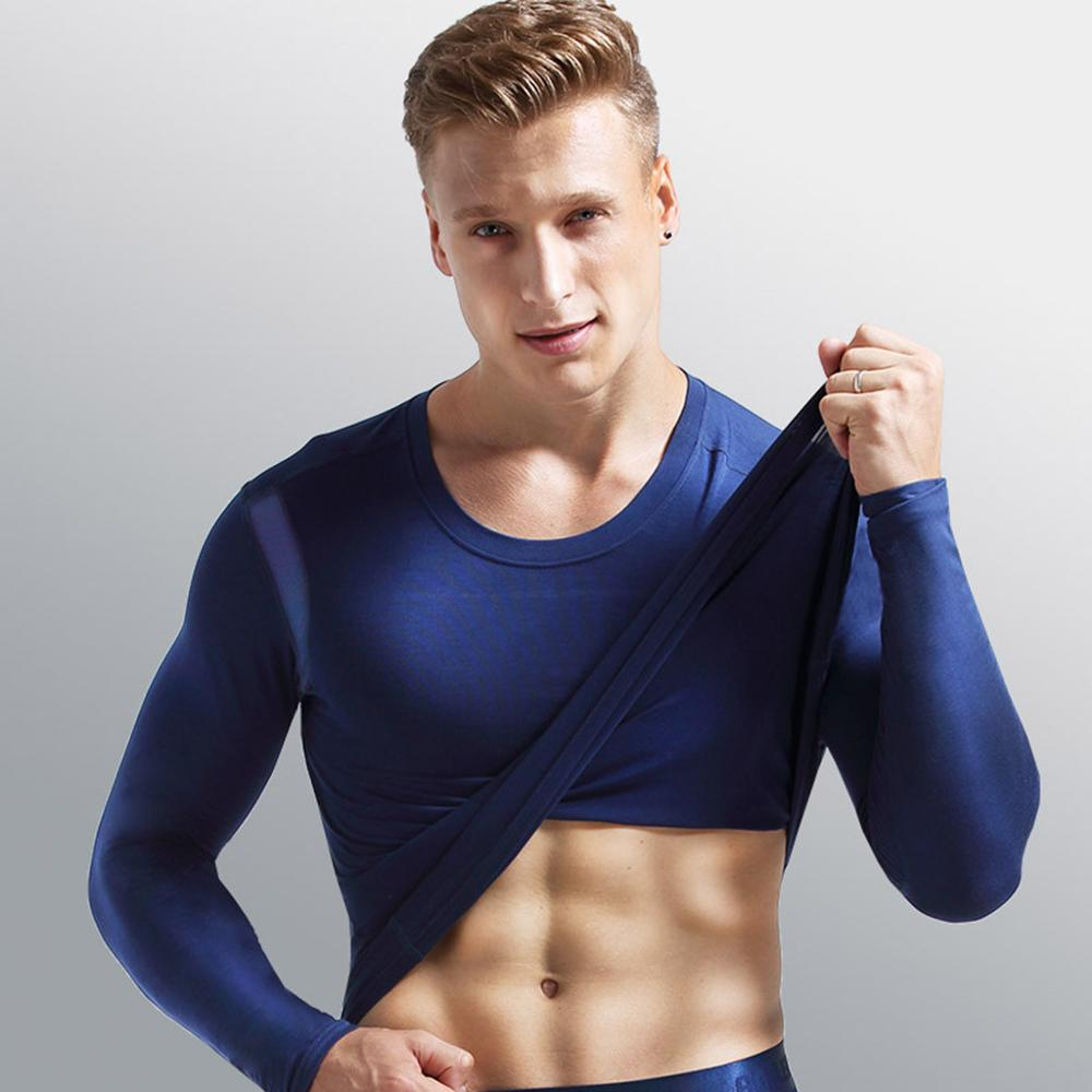 Modal Men Thermal Underwear Sport Elastic Slim Breathable Thermo Shirt Men Blouse Tops Winter Autumn Stretch Child Warm Top