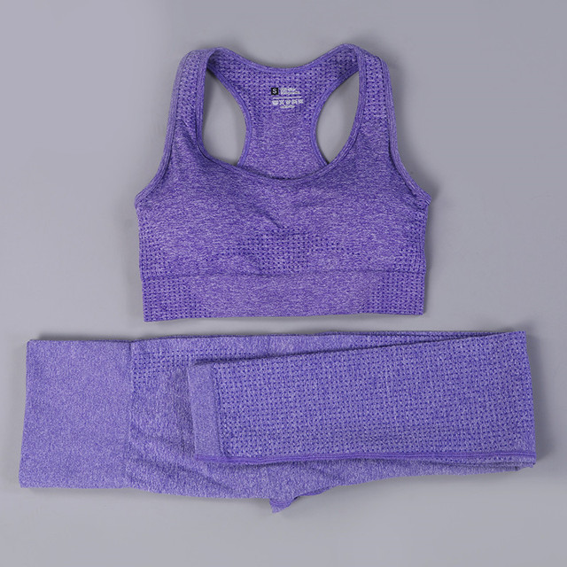 Hot Women Yoga Set Sexy Sports Suits Seamless Fitness Clothing Sportswear Woman Gym Leggings Padded Push-up Strappy Sports Bra
