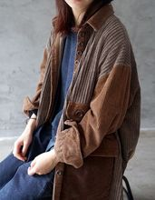 The original color of the old quarter is the color of the color of the old cheap DAILOU Full WOMEN Corduroy Casual COTTON Trench Button Pockets Long Ages 35-45 Years Old Turn-down Collar Single Breasted