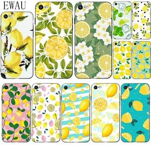 EWAU Fruit Fresh Lemon Colorful Silicone phone case for iphone 5 5s SE 2020 6 6s 7 8 plus X XR XS 11 12 Pro Max 12 Mini