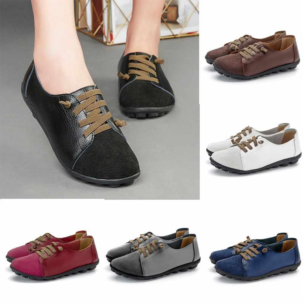 Bằng Sáng Chế Khóa Da Bông Tai Kẹp Giày Nữ Giày Nữ Mũi Nhọn Đế Bằng Cây Leo Giày Đế Bằng Nữ 2020 Zapatos De Mujer #3