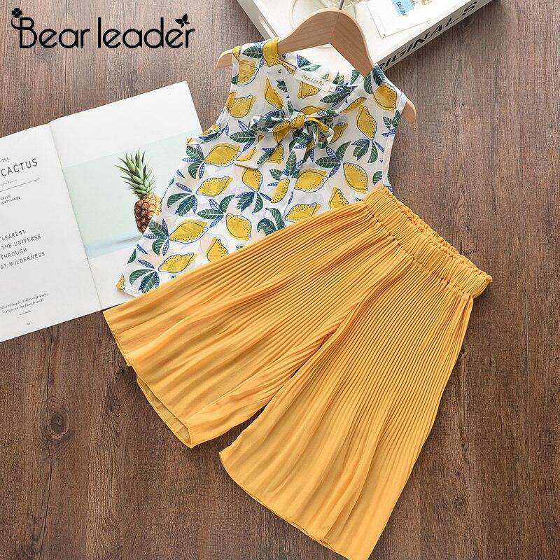 Bear Leader Girls Suit Summer Girls Clothes Colorful Printing Pants 2PCS Suit Kids Christmas Set Casual Kids Chiffon Suit 2
