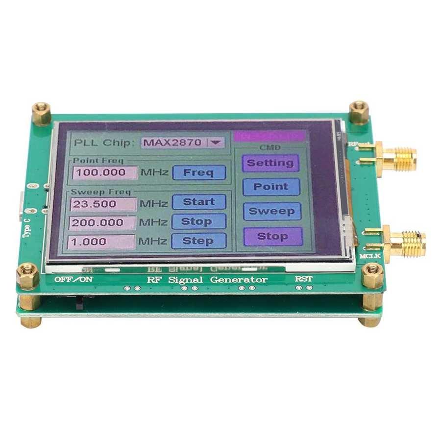 Max2870 23.5mhz-6000mhz módulo gerador de fonte de sinal rf estabilidade alta baixo nível de ruído display lcd sinal sensor tester medidor placa