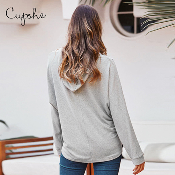 CUPSHE Basic Grey Loose Long Sleeve Drawstring Hoodie Woman Casual Sweatshirts Pullovers Tops 2020 Spring Autumn Sportswears
