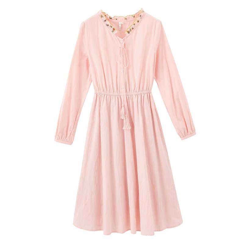 INMAN 긴 소매 드레스 2020 봄 새로운 도착 예술 레트로 빈티지 자수 모양의 여성 스위트 드레스