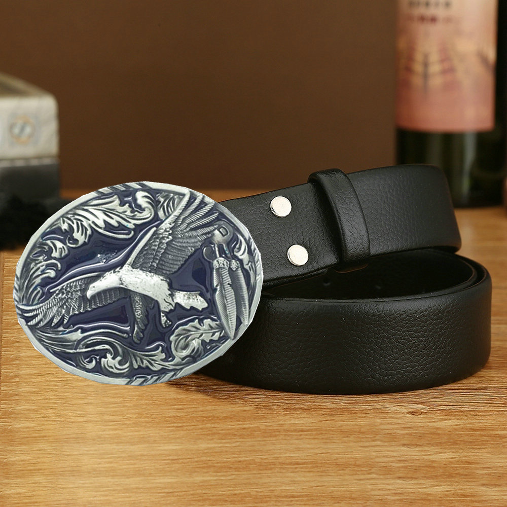 Western Cowboy Eagle Belt Buckle American Original Handmade Belt Unisex Birthday Banquet Belt