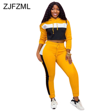 цена на Contrast Color Spliced Two Piece Tracksuit Women's Set Long Sleeve Hooded Crop Top And  Drawstring Long Pant Casual Club Outfits