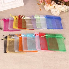 50pcs/Lot Colorful Packing Bag Drawstring Pouches Sachet Organza Gift Bags For Jewelry Wedding Party Decor Beads Packaging Bags