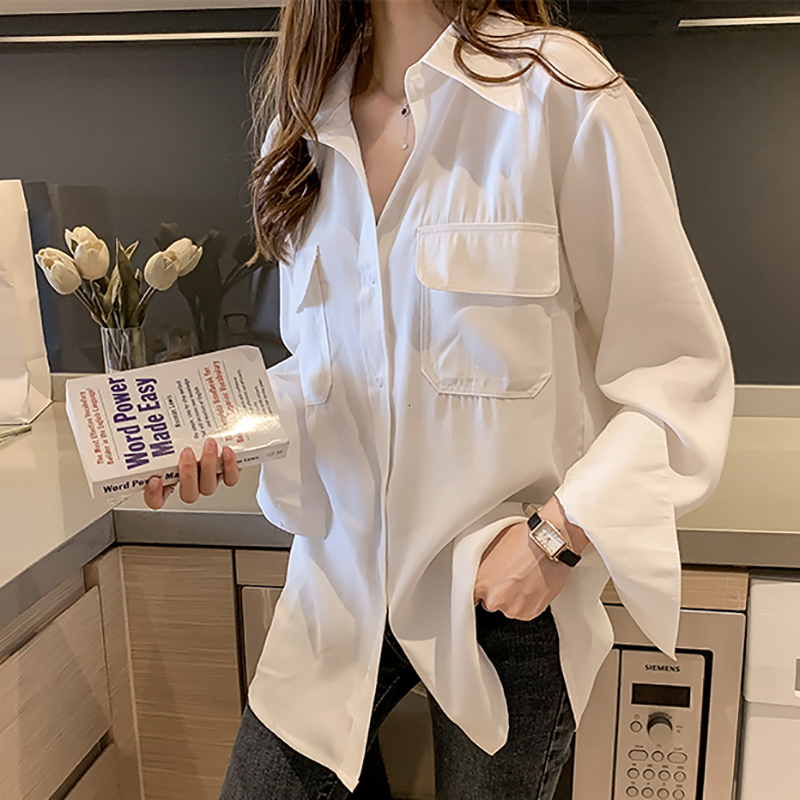 SexeMara 2019 Autumn New Turn-down Collar Pocket Decoration Full Sleeve Blouse Solid Color Ladies Fashion Loose Shirt CST098