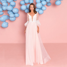 Verngo A-line Simple Evening Dress Fashion Pink Appliques Gown V-Neck Formal Long Party  Abiye Gece Elbisesi
