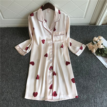 2020 Spring Summer Nightdress Women Print Sleepshirts Half Sleeve Sleepwear Silk Nightwear Cute Nightshirts Satin Nightgowns