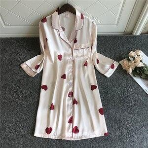 Image 1 - 2020 Spring Summer Nightdress Women Print Sleepshirts Half Sleeve Sleepwear Silk Nightwear Cute Nightshirts Satin Nightgowns