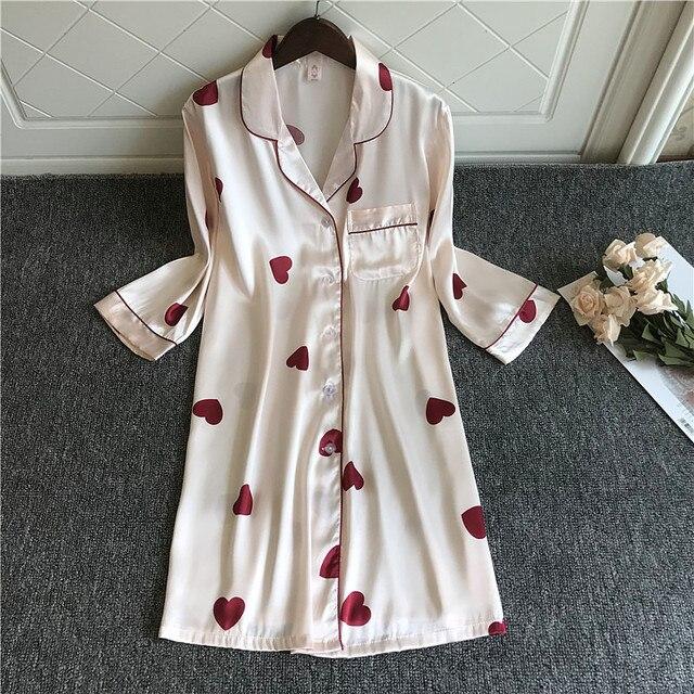 2020 Spring Summer Nightdress Women Print Sleepshirts Half Sleeve Sleepwear Silk Nightwear Cute Nightshirts Satin Nightgowns