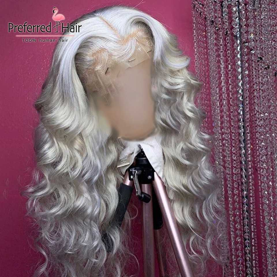Preferred 13x6 Ombre Human Hair Wig Preplucked Sliver Grey 99J Lace Front Wig Brazilian Remy Transparent Lace Wigs For Women