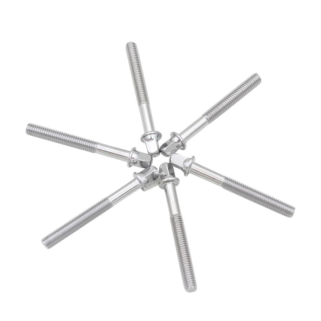 6 Pcs Durable Drum Tension Rods Short Screws Bolts Musical Instrument Parts