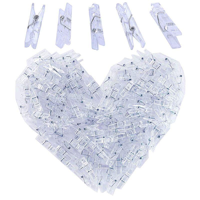 Mini Spring Clear Transparent Clips Clothes Photo Paper Peg Pin Clothespin H7EC
