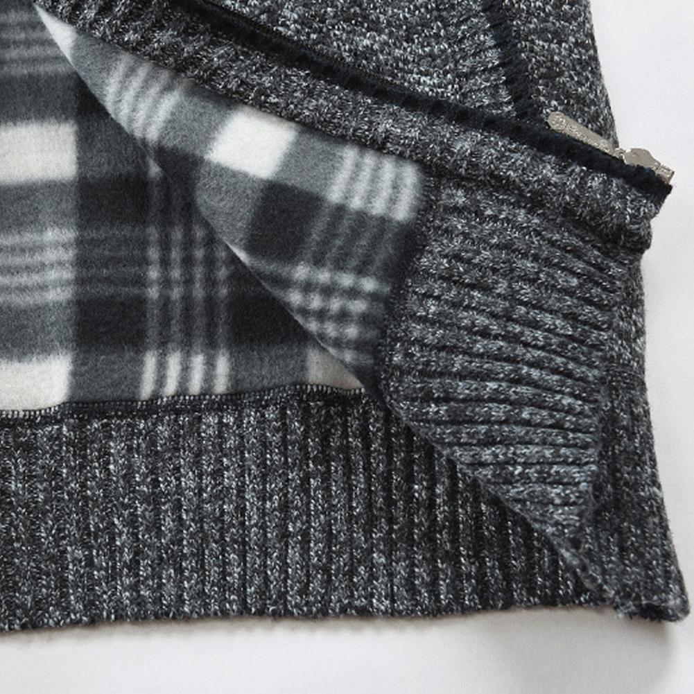 Autumn Winter Men Knitted Sweater Pockets Plush Liner Warm Slim Cardigan Coat 5