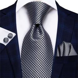 Hi-Tie 8.5cm Business Black Solid Paisley 100% Silk Men's Tie Neck Strip Ties for Men Formal Luxury Wedding Neckties Gravatas